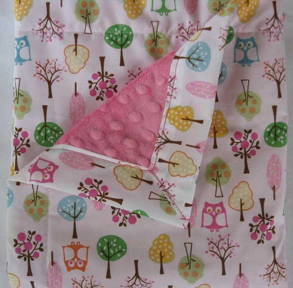 Owls and Pink Chenille Minky Baby to Toddler Blanket - LIMITED AVAILABILITY