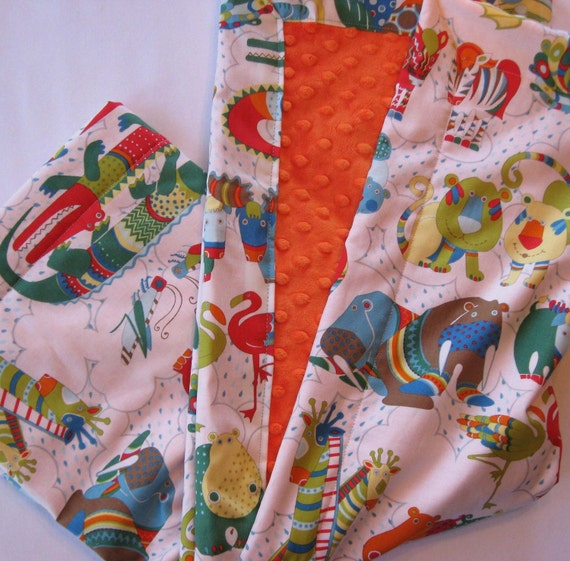 SALE It's Raining Animals Minky Baby to Toddler Blanket