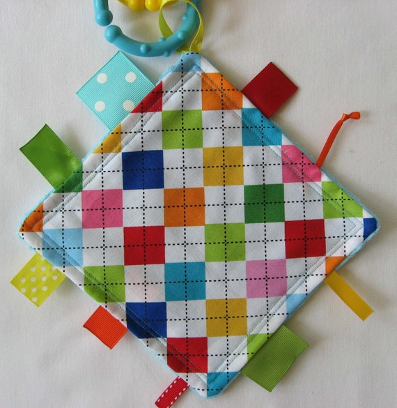 Touch And Feel Toys : Argyle rainbow mini touch and feel sensory toy