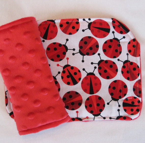 Red Ladybugs Reversible Minky Car Seat Strap Covers