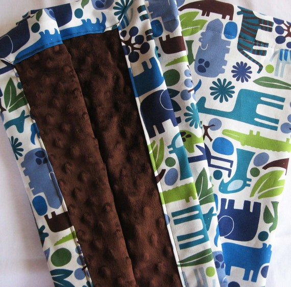 2D Zoo Animals and Chocolate Minky Baby to Toddler Blanket