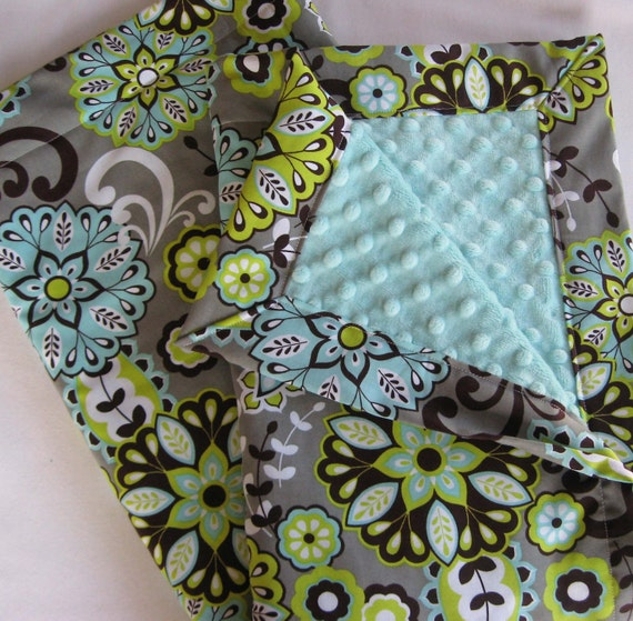Paisley Flowers Minky Baby to Toddler Blanket