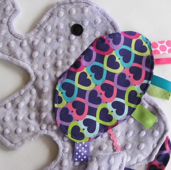 Neon Heart Elephant Blanket Sensory Lovey - Icing On The Cupcake