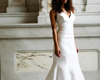 Francine V-neck mermaid silk wedding gown