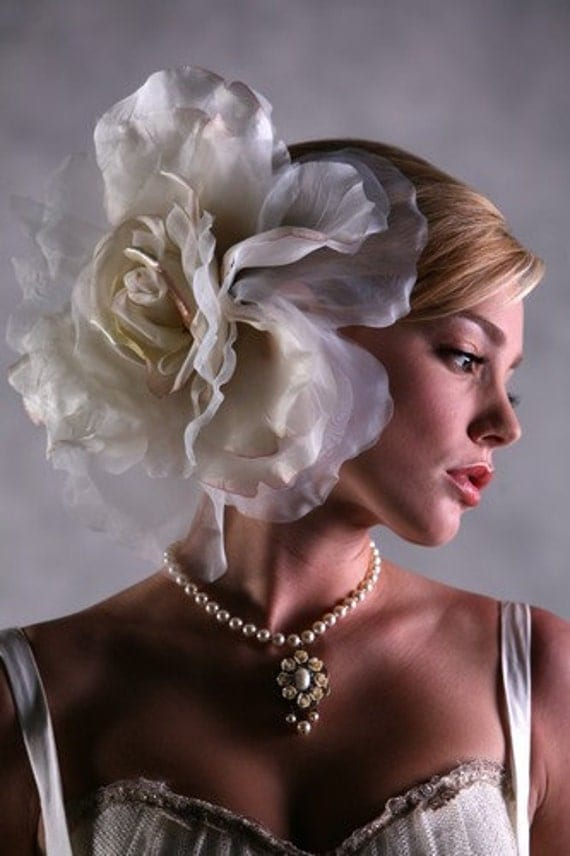 Large Chiffon flower Head Piece | White