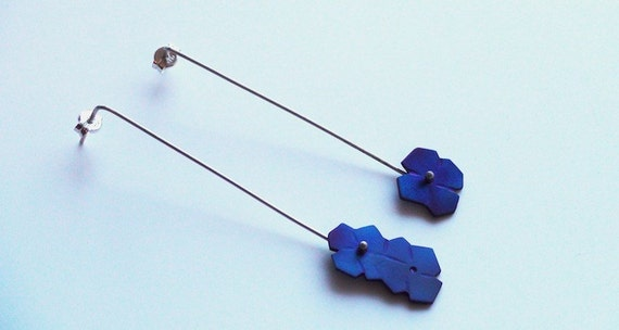 Handmade Titanium and Silver Flower Earrings