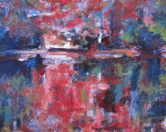 Abstract Square Landscape Oil Painting by Christina Batch-Lee