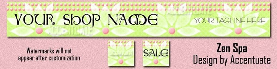 ZEN SPA ------ pre-made Etsy shop banner and two matching avatars set