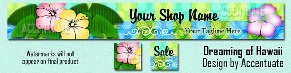 DREAMING OF HAWAII ------ Premade Etsy Shop Banner Avatar Set - One Of A Kind (ooak) & Fabulous - by Accentuate