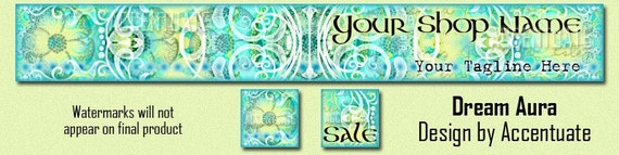 DREAM AURA ------ Premade Etsy Shop Banner Avatar Set - One Of A Kind (OOAK) & Fabulous - by Accentuate