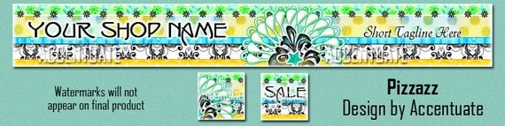 PIZZAZZ ------ Premade Etsy Shop Banner Avatar Set - One Of A Kind (OOAK) & Fabulous - by Accentuate