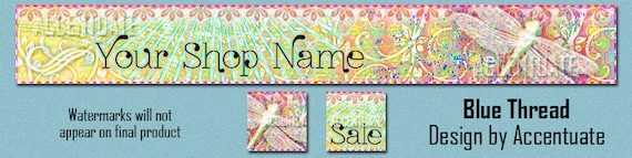 BLUE THREAD ------ Premade Etsy Shop Banner Avatar Set - One Of A Kind (OOAK) & Fabulous - by Accentuate