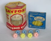Vintage cupcake papers, candles and candle holders - Flowers, etc.