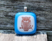 SALE Owl Pendant Fused Glass Jewelry Handmade Olympian Blue