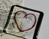 Heart Paperweight Fused Glass and Hammered Copper - Romantic Gift