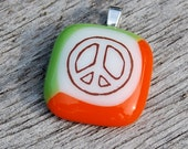 Peace Sign Fused Glass Pendant Handmade Jewelry - SALE