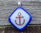 Sale Nautical Anchor Fused Glass Pendant