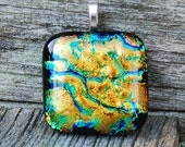 Pendant Gold, Green and Blue Dichroic Fused Glass Pendant