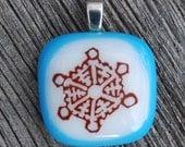 Winter Snowflake Fused Glass Pendant Frozen Jewelry