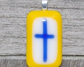 SALE Cross Pendant Fused Glass Pendant Blue and Yellow  - Confirmation - First Communion