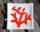 Jewelry Holder Red Coral Little Fused Glass Dish - Spoon Rest - Trinket Dish Beach Cottage Decor