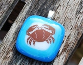 Crab Fused Glass Pendant Cancer Zodiac Sign Jewelry