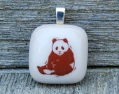 Giant Panda Fused Glass Pendant Panda Bear Jewelry