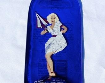 Marilyn Monroe Cobalt Blue Wine Bottle Cheese Board -  Cheese Spreader - Kestrel Pure Platinum