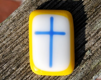 Comfort Pocket Cross Yellow and Blue Fused Glass - Worry Stone - Charm