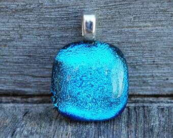 Caribbean Blue Dichroic Fused Glass Pendant Petite Size