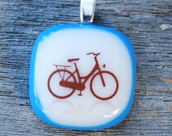 Bicycle Fused Glass Pendant Handmade Bike Jewelry