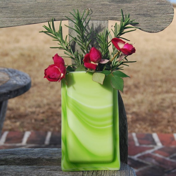 Air Plant Holder Green Fused Glass Pocket Vase Wall Decor, Oops Sale
