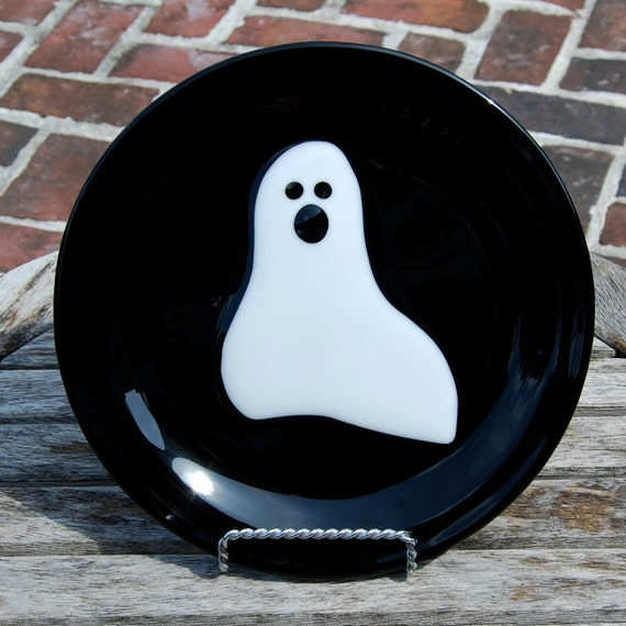 SALE Halloween Ghost Fused Glass Plate - Decoration - Cookie Plate