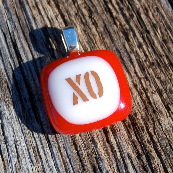 SALE XO Hugs and Kisses Fused Glass Pendant - Romantic Jewelry - Teeny Tiny Size
