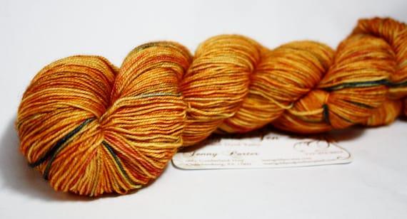 Orange Julious--hand dyed fingering weight yarn, BFL superwash, (465yds/100gm)