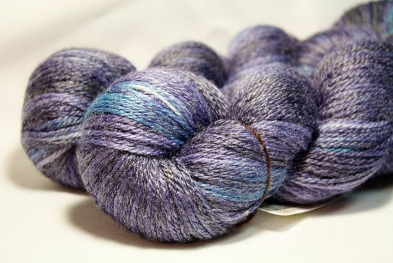 Delphinium--hand dyed worsted weight, merino and bamboo (300yds/125gm)