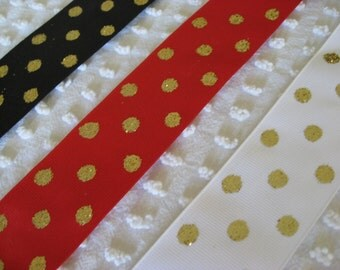 Shop Closing Sale - 25 Plus Yards Glitter Dot Offray Ribbon - Red White Black - Heavy Quality Grosgrain