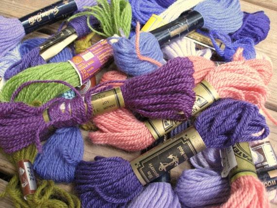 20 Skeins Vintage Wool Crewel Tapestry Yarn - Multi Mix - Large Lot