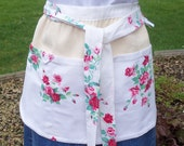 Rose Floral Apron made from Vintage Tablecloth