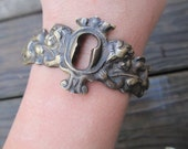 Antique Hardware Bracelet-  One of a Kind Hipster Keyhole Antique Jewelry by DanielleRoseBean