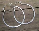 Hoop Earrings Hand Hammered Sterling Silver Hoops Metalwork Jewelry by DanielleRoseBean Silver Hoops
