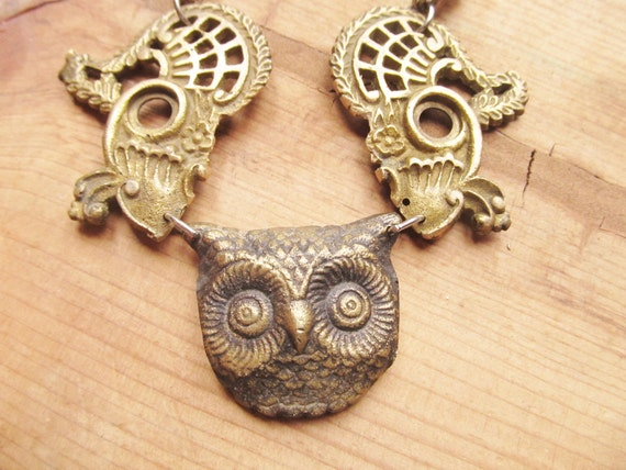 Owl Necklace - Funky Retro Brass Hipster Assemblage Jewelry