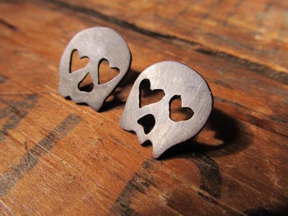 Skull Earrings, Punk Earrings, Psychobilly, Skull Stud Earrings, Skull Post Earrings, Goth Jewelry
