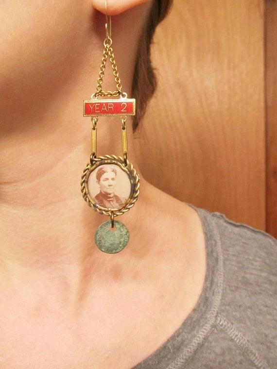 Long Chandelier Earrings, Antique Victorian Earrings, Gothic Noir, Victorian Mourning Jewelry, Long Earrings