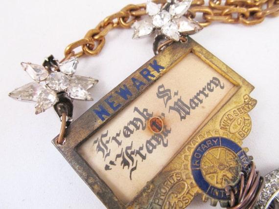 Rhinestone Statement Necklace, Antique Assemblage Necklace, Chunky Bib Statement Necklace
