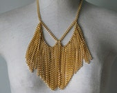 Vintage Style Statement Necklace in Gold Tone Chain Metal Fringe