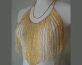 Gold Tone Chain Fringe Bib Shirt Necklace