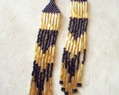 Elegant Black and Gold Twisted Czech Delica Bead Earrings