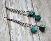 Vintage Turquoise Gemstone Dangle Chain Altered Art Beaded Earrings