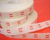 vintage printed tape - numbers 11 and 13 - 4 yards total trim